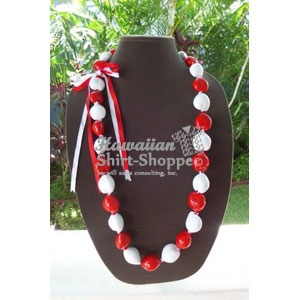 Red and White Kukui Lei
