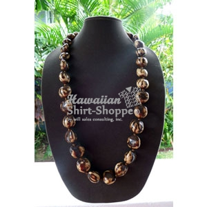 Premium Brown Tiger Eye Kukui Nut Lei