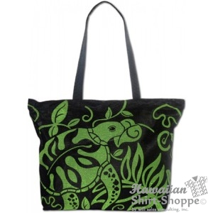 Black & Green Turtle Floral Mesh Tote