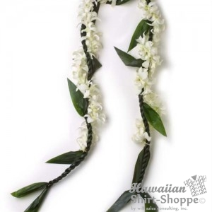 Weddings - Ti Leaf and White Orchid Lei