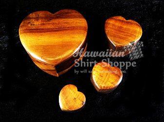 Koa Heart Shaped Boxes