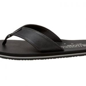 Men's Koa Black Leather Flip Flops by Scott Hawaii